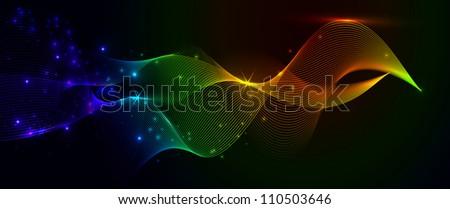 Colorful smoke and lights - stock vector