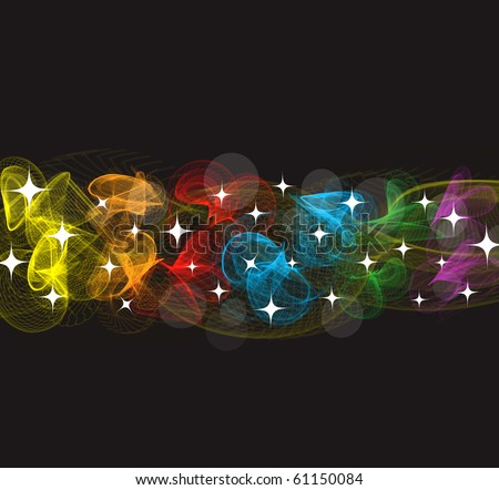 colorful smoke on black background - stock vector