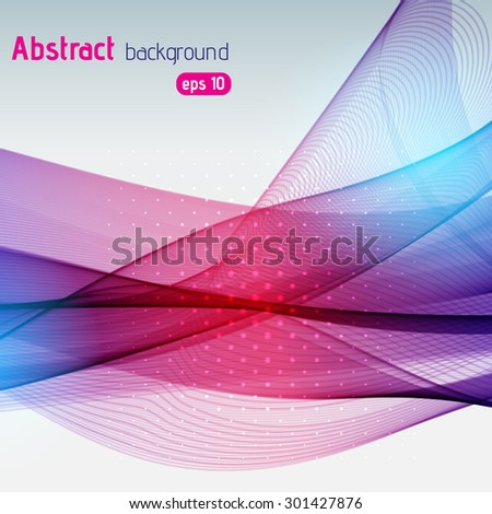 Colorful smooth light blue, purple, pink lines background with glowing terms. Vector illustration