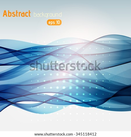 Colorful smooth light lines background. Blue, white, pink colors. Vector illustration