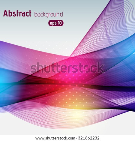 Colorful smooth light lines background. Pink, blue, yellow colors. Vector illustration