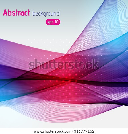 Colorful smooth light lines background. Pink, purple, blue colors. Vector illustration