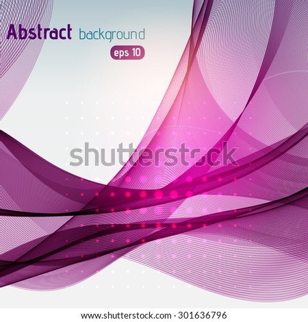Colorful smooth light lines background. Pink, purple colors. Vector illustration - stock vector