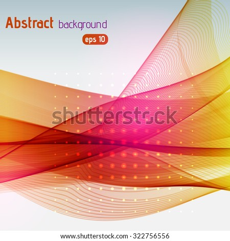 Colorful smooth light lines background. Yellow, orange, pink colors.  Vector illustration - stock vector