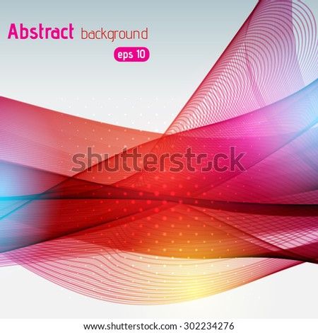 Colorful smooth red, purple, orange  lines background. Vector illustration
