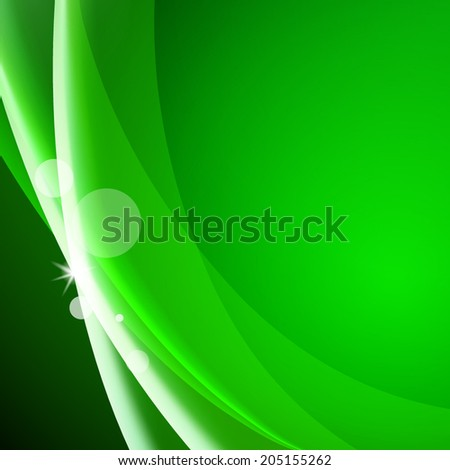 Colorful smooth wavy curved lines. Green color background - stock vector
