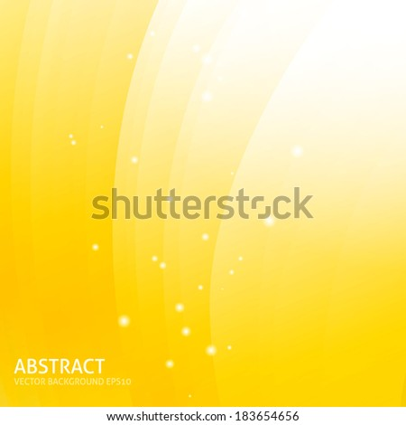 Colorful smooth wavy curved lines. Yellow, orange, white colors background - stock vector