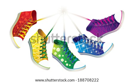 Colorful sneakers. - stock vector