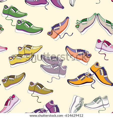 Colorful sneakers. Seamless pattern. Vector illustration on light yellow background
