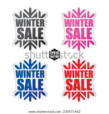 Colorful Snowflake vector paper winter sale - sticker - Christmas offer