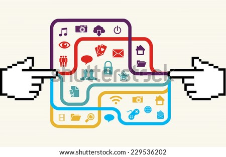 Colorful social media connection concept with hand pionter pixel illustration. EPS10 vector file organized in layers for easy editing. - stock vector