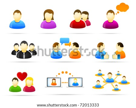 Colorful social media people icon set - stock vector