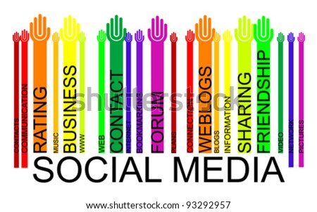 colorful SOCIAL MEDIA text bar-code, vector - stock vector