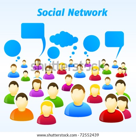 Colorful social network people with speech bubbles - stock vector
