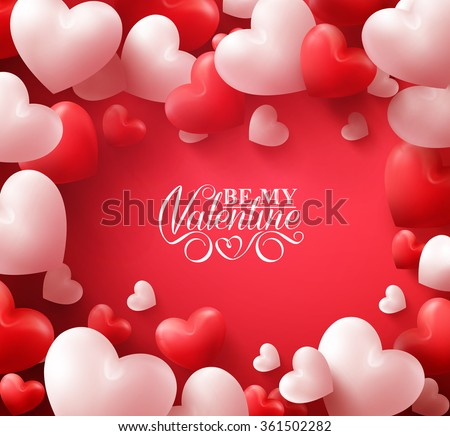 Colorful Soft and Smooth Valentine Hearts in Red Background with Happy Valentines Day Greetings in the Middle. Vector Illustration  - stock vector