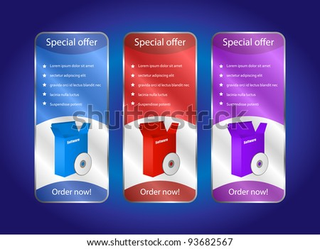 Colorful Software Banner Set - stock vector