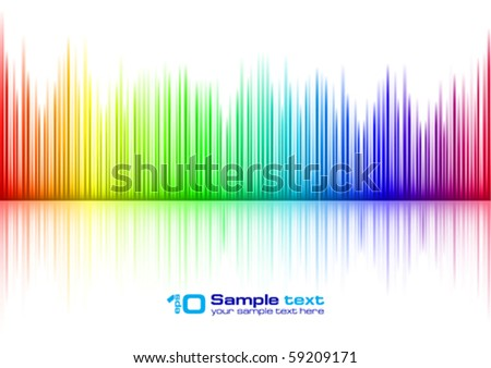 Colorful Sound waveform (editable vector) on white - stock vector