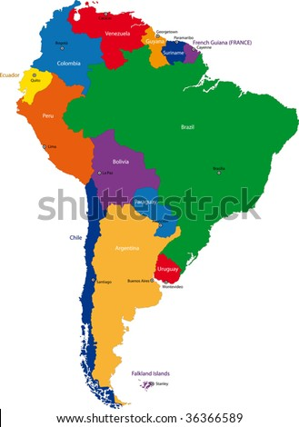 Colorful South America map with countries and capital cities - stock vector