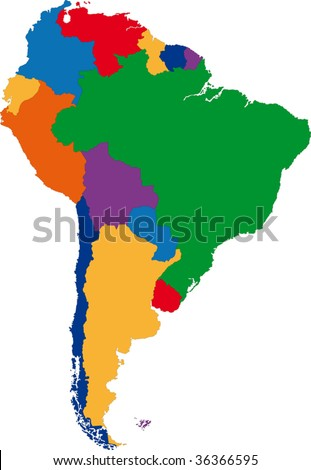 Colorful South America map with country borders - stock vector