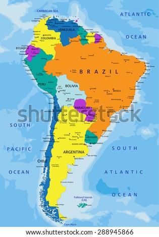 Colorful South America political map with clearly labeled, separated layers. Vector illustration. - stock vector