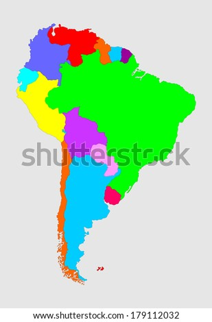 Colorful South America vector map with separated countries isolated on gray background.  - stock vector