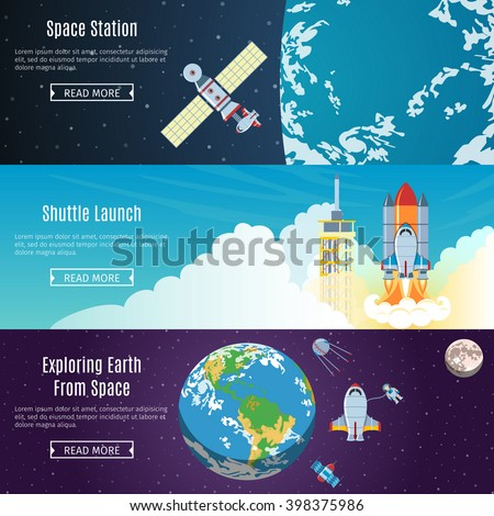 Colorful Space Flat Horizontal Banners Set. Space Station. Shuttle Launch. Exploring Earth From Space. Space Objects And Web Elements Collection. Vector Illustration - stock vector