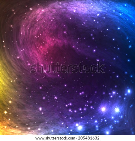 Colorful Space Galaxy Background with Light, Shining Stars and Nebula. Vector Illustration for artwork, party flyers, posters, banners. - stock vector