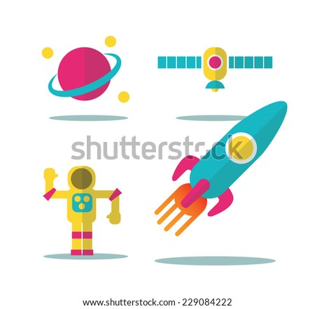 Colorful space icons set . flat icons design. vector - stock vector