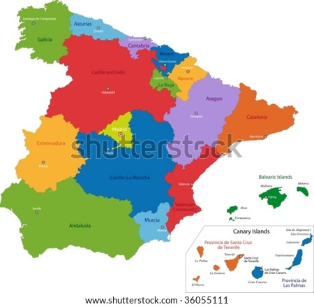 Colorful Spain map with regions and main cities - stock vector