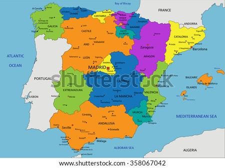 Colorful Spain political map with clearly labeled, separated layers. Vector illustration. - stock vector