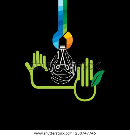 colorful spanner connecting with bulb and hand  - stock vector