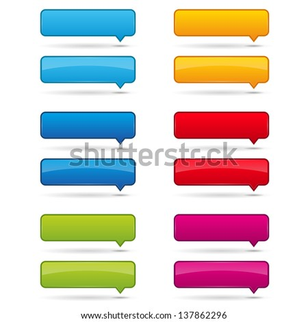 Colorful speech bubble buttons - stock vector