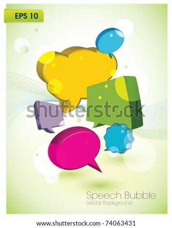 colorful speech bubble vector background - stock vector