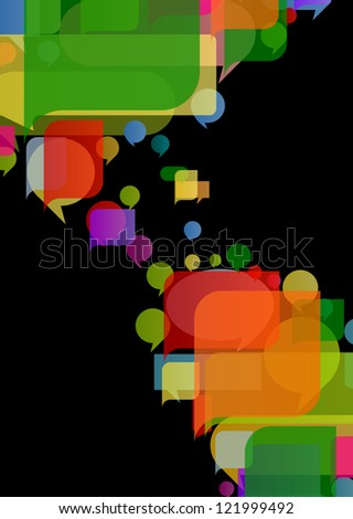 Colorful speech bubbles and balloons cloud illustration background vector - stock vector