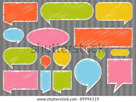 Colorful speech bubbles and balloons illustration collection background - stock vector