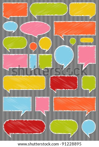 Colorful speech bubbles and balloons illustration collection background vector - stock vector