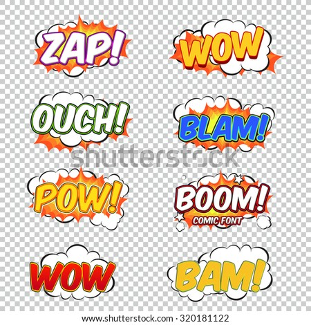 Colorful speech bubbles and explosions in pop art style. Elements of design comic. Zap, wow, ouch, blam, pow, boom, bam from different comic fonts. - stock vector