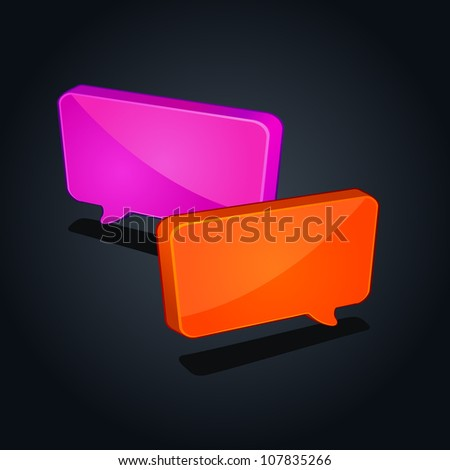 colorful speech square chat icon isolated on black background - stock vector