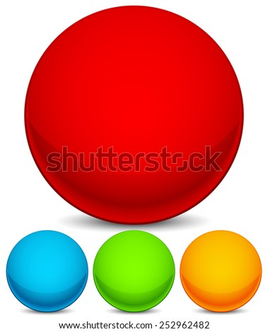 Colorful sphere elements / icons. Bright red, blue, green and yellow circle shape set with empty space and shading effect. Eps 10. - stock vector