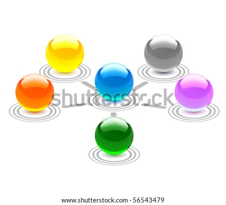 Colorful Spheres Network Concept. Vector Illustration