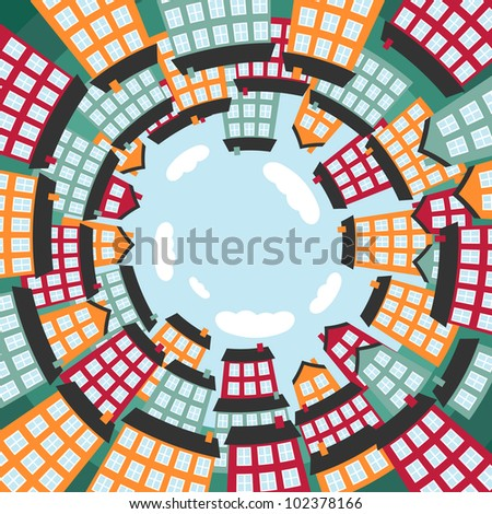 Colorful spherical town. Vector illustration. - stock vector