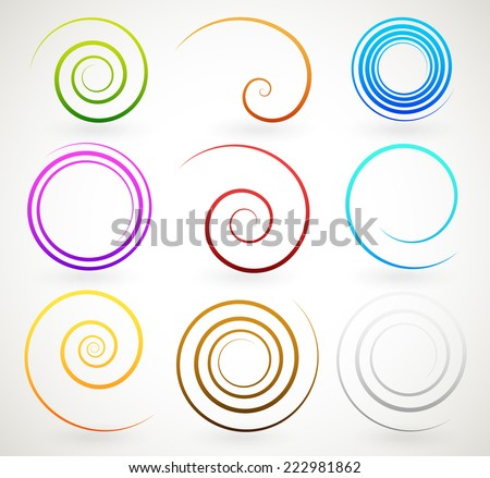 Colorful spirals, twirls - stock vector