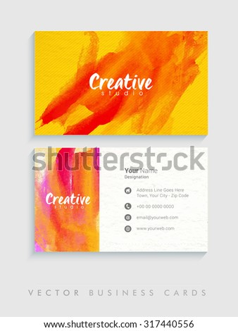 Colorful splash decorated, creative horizontal business card, name card or visiting card set on grey background. - stock vector