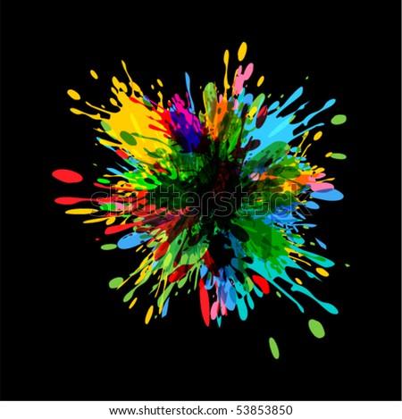 colorful splash illustration (NO TRANSPARENCY) - stock vector