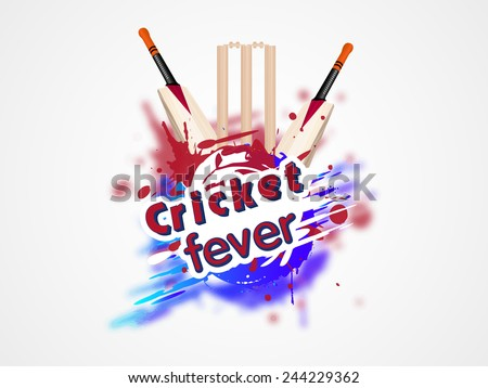 Colorful splash with cricket bat and wicket stumps for Cricket Fever on white background. - stock vector