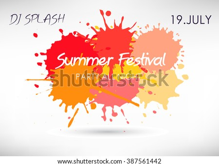 Colorful splashes festival poster. Vector splatter background.