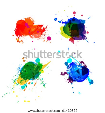 Colorful splashes on white background - stock vector