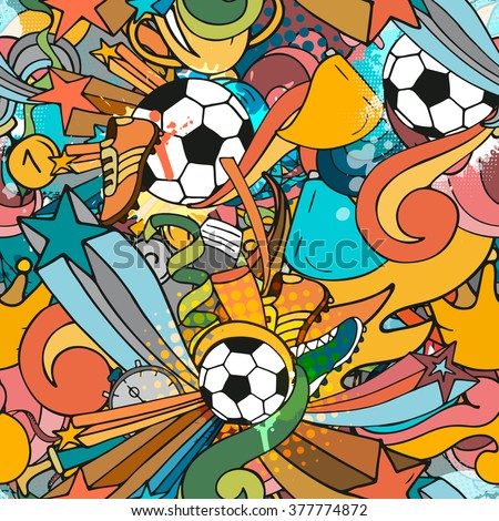 Colorful sport seamless pattern with soccer doodle objects. Hand drawn outline style for textile, poster, advertisement - stock vector