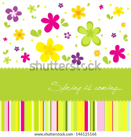 Colorful spring background with a lot of flower - stock vector