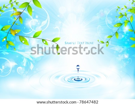 colorful spring design with water drop - stock vector